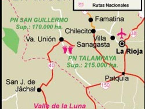 Parco Nazionale Talampaya, grande varietà di formazioni geologiche preistoriche.